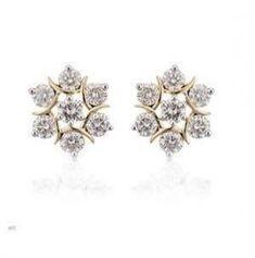 Diamond Earrings Indian, Gold Diamond Earrings, Diamond Studs, Diamond Jewelry, Gold Jewelry, Jewelery, Fine Jewelry, Stud Earrings, Vintage Jewelry