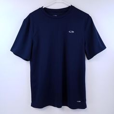 Champion Men's Size Medium Blue Athletic Short Sleeve Polyester Duo Dry T-shirt #Champion #ShirtsTops