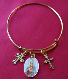 Immaculate Heart of Mary Saint Medal Wire Bangle Bracelet