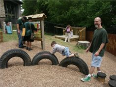 UU Playground - tires buried to climb on.