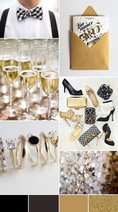 Glam Black Tie Wedding Inspiration - gold black weddings (just replace black with sapphire blue)