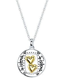 Unwritten Sisters Round Pendant Necklace in 14k Gold and Sterling Silver