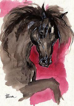 Black horse original acrylic painting on paper by AngelHorses
