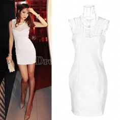 New Fashion Women's Lace Shoulder Sleeveless Round Neck T-shirt Mini Dress Summer