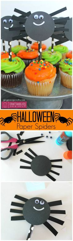 Halloween Craft Paper Spiders || Could put on cupcakes, hang from ceiling with fishline, or glue to twine for a party garland. Or pre-cut and let kids assemble for a Kids Halloween Crafts idea.