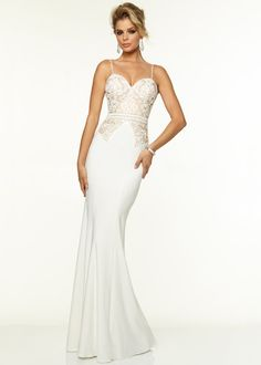 Sexy Beaded Straps Vanilla Nude Fitted Long Prom Dress