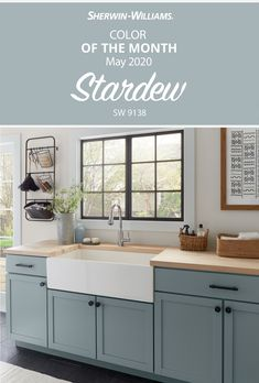 Make a clean start with laundry room walls painted in the Sherwin-Williams May Color of the Month, Stardew SW Fresh and fabulous, this hue will wash your color selection worries away. Tap this pin to find inspiration for your next DIY painting project. Kitchen Cabinet Colors, Kitchen Redo, Kitchen Colors, New Kitchen, Kitchen Remodel, Paint Colors Kitchen Walls, Dinning Room Colors, Kitchen Paint Schemes, Painted Kitchen Island