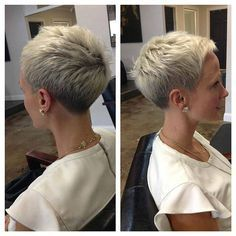 """How to style the Pixie cut? Despite what we think of short cuts , it is possible to play with his hair and to style his Pixie cut as he pleases. For a hairstyle with a """"so chic"""" and pointed… Continue Reading → Haircut For Older Women, Short Hair Cuts For Women, Short Hairstyles For Women, Short Hair Styles, Short Cuts, Pixie Styles, Modern Hairstyles, Super Short Hair, Short Grey Hair"""