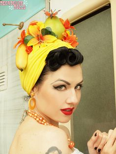 Yellow citrus circus Carmen Miranda Fruit hat by MyTuttiFruttiHat, $95.00