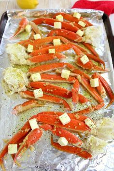 Vintage French Soul ~ Want to know how to make Snow Crab Legs in the oven? With just 5 ingredients from ALDI, this simple Oven Baked Snow Crab Legs recipe comes together quickly and easily. Perfect for your holiday parties and dinners! Snow Crab Legs Recipe Baked, Bake Crab Legs Recipe, Baked Crab Legs, Steamed Crab Legs, Crab Bake, Seafood Boil Recipes, Seafood Bake, Crab Recipes, Seafood Dinner
