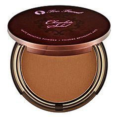 Too Faced matte bronzing powder, it's made with real cocoa and smells like chocolate. My favorite makeup product. Ever.