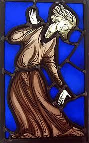 medieval stained glass Mad Matilda, Canterbury Cathedral.