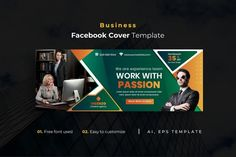Business Facebook Cover Template AI, EPS Passion Work, Facebook Cover Template, Teamwork, Templates, Business, Stencils, Vorlage, Store, Business Illustration