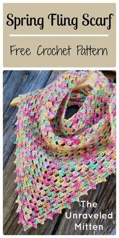 Crochet Spring Triangle Scarf | The Unraveled Mitten | Free Crochet Pattern | Crochet shawl | Crochet Granny Triangle | Easy Crochet Pattern