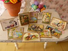 Dollhouse Miniature Vintage Easter Cards, found on Etsy