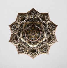 Laser-cut layers of paper, creating geometric images that mimic gothic or Islamic windows or design.  http://www.eric-standley.com/