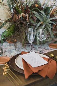 We love the fall-esque hues in our Rust Napkins for this summer shoot. Event Designer/Planner: Samantha Joy Events Photographer: Amanda Donaho Photography Floral Design: Marti Heard Design Venue: Mojave East Specialty Rentals: Queen City Vignette Fine Art Stationary: Isidore and Augustine