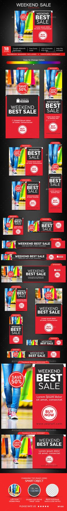 Weekend Sale Banners Template PSD #design #ads #promote Download: http://graphicriver.net/item/weekend-sale-banners/13845567?ref=ksioks