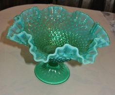 RARE Fenton Blue/Green HOBNAIL OPALESCENT FOOTED COMPOTE RUFFLED