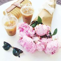 #Peonies and Iced #Coffee. Two loves of my life.  #sugarluxeshop sugar luxe shop