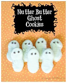 Halloween Nutter Butter Ghost Cookies recipe - easy 3 ingredients - perfect for the kids to help