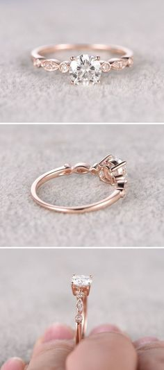 Moissanite in Rose Gold Engagement Ring - Gardening Aisle wedding rings pictures simple vintage sets wedding rings sets kay jewelers wedding rings wedding rings for men zales wedding rings cheap wedding rings womens wedding ring sets unique wedding bands Rose Gold Engagement Ring, Vintage Engagement Rings, Wedding Engagement, Wedding Bands, Solitaire Engagement, Engagement Ring Simple, Rose Gold Promise Ring, Rose Gold Rings, Beautiful Engagement Rings