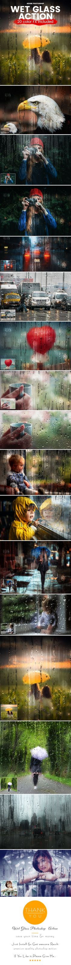 Wet Glass Photoshop Action - Photo Effects Actions