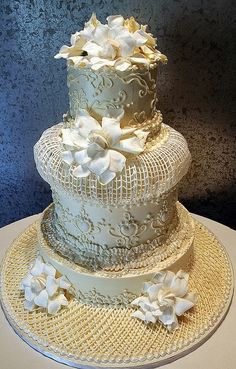 Wedding cake decorated in an extreme Victorian style. Influenced by Lambeth's string work, this cake is for those who want to capture the by yana&angel