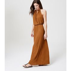LOFT Beach Halter Maxi Dress ($55) ❤ liked on Polyvore featuring dresses, spanish almond, halter top maxi dress, draped maxi dress, halter maxi dress, beach dresses and keyhole maxi dress