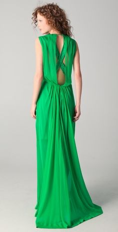 No. 21, Long gown with lace detail, green