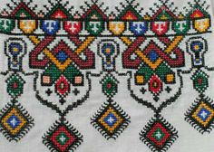 Embroidery detail from table cloth. Olga Malanchuk made this in 1957 from a Nasha Chata magazine pattern. Folk Embroidery, Embroidery Patterns Free, Cross Stitch Embroidery, Embroidery Designs, Cross Stitch Borders, Cross Stitch Patterns, Palestinian Embroidery, Bargello, Blackwork