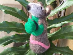 Irish Mouse Rat St Patrics day green needle felted by Felt4Soul