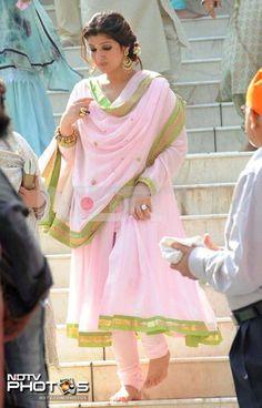 Blush Pink Kurta with Green zari Border