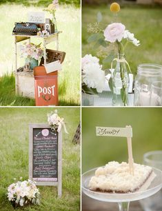Love the typewriter/old camera guest book and old mailbox card box.