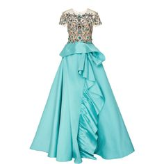 Marchesa     Cascading Ruffle Full Length Gown ($5,995) ❤ liked on Polyvore featuring dresses, gowns, marchesa, blue, beaded gown, beaded evening dresses, blue off the shoulder dress, blue evening gown and off the shoulder dress