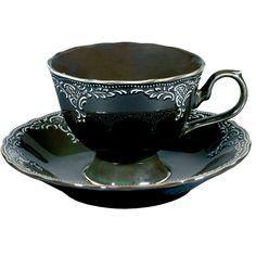 Black tea cup w/ saucer Coffee Cups, Tea Cups, Tadelakt, Tiffany Glass, Gothic House, Gothic Mansion, My Cup Of Tea, Tea Cup Saucer, High Tea