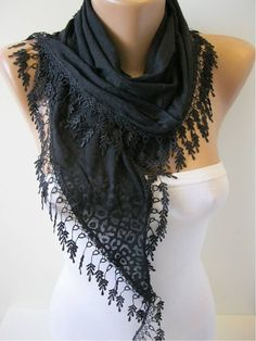 Black Scarf  with Trim Edge Gift Scarf Shawl by MebaDesign on Etsy...