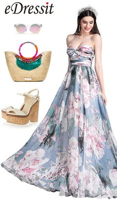 [EUR 110,49] eDressit Printed Floral Strapless Pleated Evening Dress (X07154405)