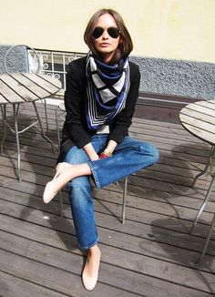 So my style - love everything from the nude pumps to the big scarf and ray bans