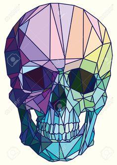 Illustration about Low-poly colorful geometric skull art vector. Illustration of halftone, image, colorful - 64915340 Geometric Drawing, Geometric Art, Skull Design, Art Design, Pop Art, Totenkopf Tattoos, Skull Art, Art Inspo, Vector Art