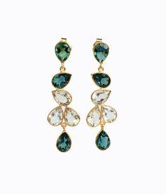 1f520a600 Large Elegant Statement Dangle Drop Earrings with Tourmaline and Green  Amethyst Gemstones, Formal Evening Date Earrings, Homecoming Earrings