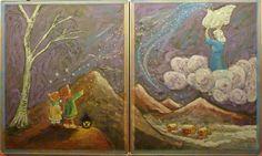 Chalkboard drawing - fairytale - winter - first grade - waldorf - Frau Holle