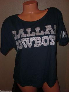 NWT! S Small Womens PINK By Victorias Secret Dallas Cowboys Bling T-Shirt Navy #VictoriasSecretPink #EmbellishedTee