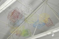 Cloud Clusters 2005 powder coated wire and anodised wire text Dimensions variable