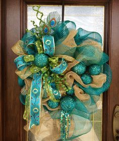 Christmas Wreath 2013 using blue peacock ribbon.