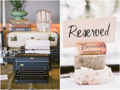 Vintage Typewriter For Wedding and I like the cork on wood for place settings.
