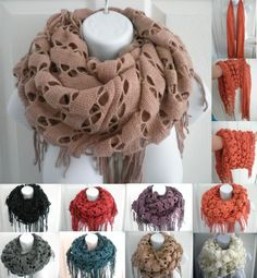 Women Infinity Knit Cowl Neck Long Scarf Shawl tube snood shimmer soft scarf HOT
