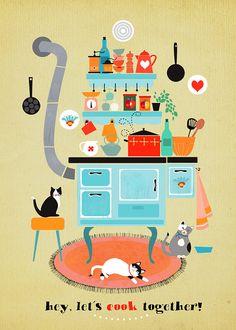 Lets cook together limited edition art print por sevenstar en Etsy, $23.00