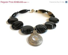 Santa gives you 10% Black striped beaded by FlorenceJewelshop
