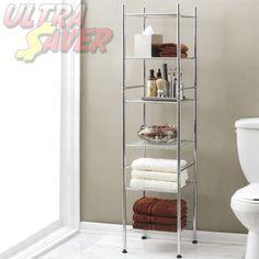 6 Level Chrome Wire Storage Shelves Metal Shelf Shelving Tower Shop Display Rack